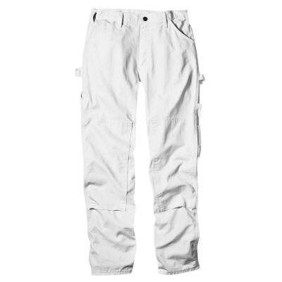 Men's Relaxed Fit 36 in. x 34 in. White Double-Knee Painter Pant