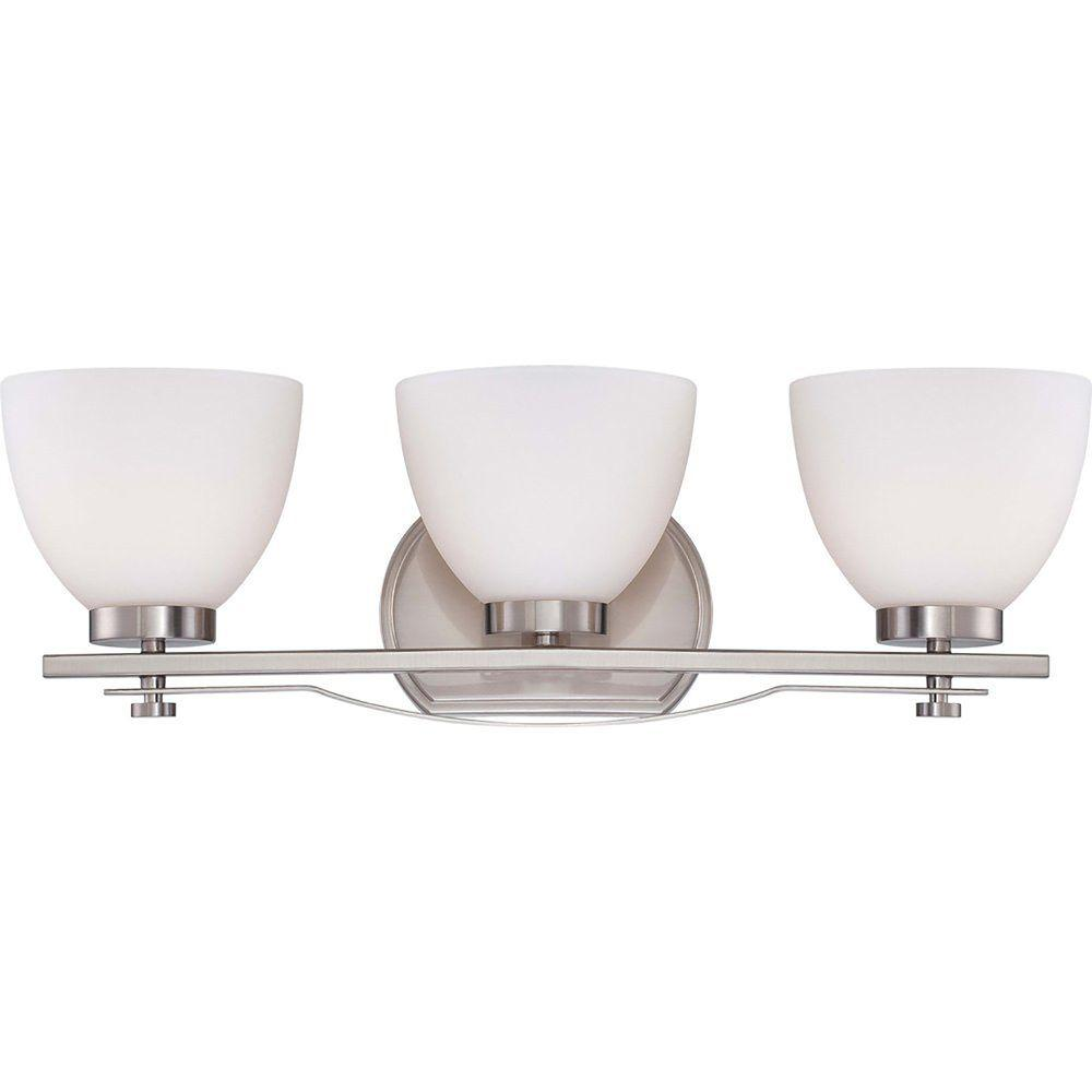 Illumine 3-Light Brushed Nickel Vanity Fixture with Frosted Glass Shade