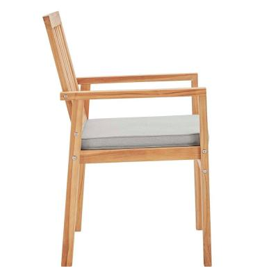 Farmstay Natural Teak Wood Outdoor Dining Chair with Taupe Cushion
