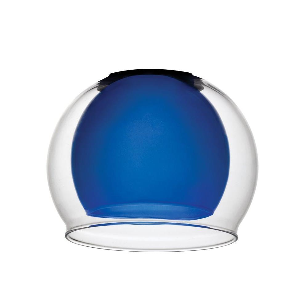 Blue Glass with Clear Glass Bowl Shade for LED Mini Pendant