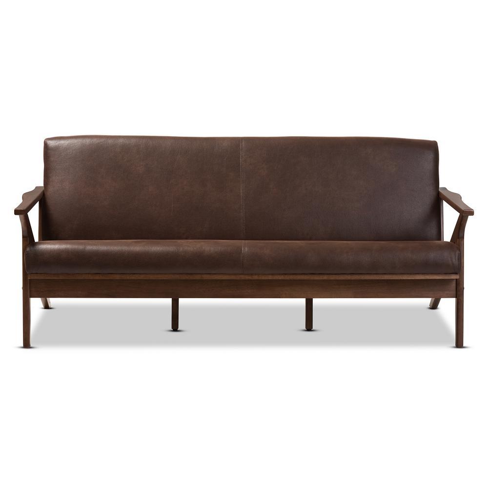 Bianca Dark Brown/Walnut Brown Faux Leather Sofa