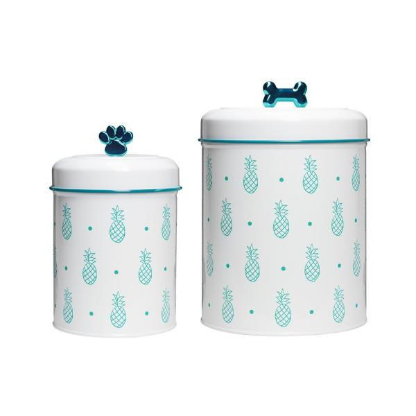 Amici Home Pet Pineapple Assorted Size Metal Pet Treats Canister (2-Pack)