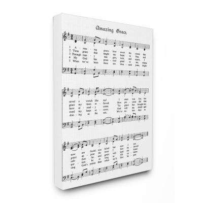 "16 in. x 20 in. ""Amazing Grace Vintage Sheet Music"" by Lettered and Lined Printed Canvas Wall Art"