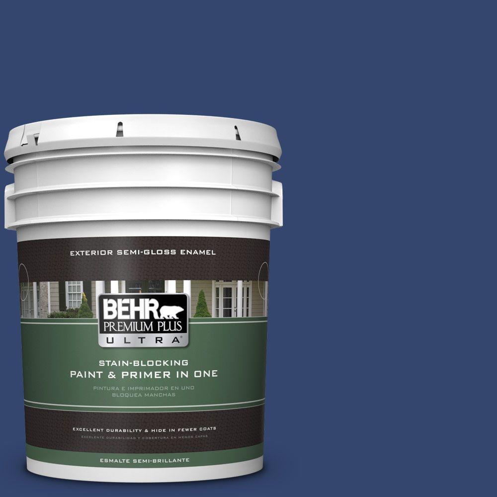 BEHR Premium Plus Ultra 5-gal. #S-H-610 Mountain Blueberry Semi-Gloss Enamel Exterior Paint