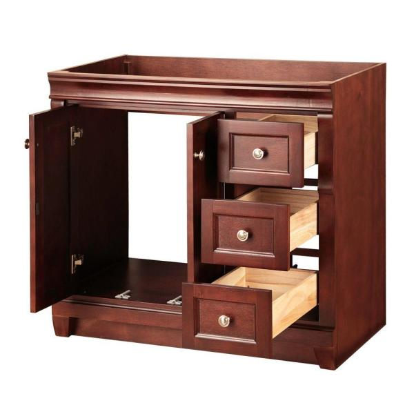 Home Decorators Collection Naples 36 In W Bath Vanity Cabinet Only In Tobacco With Right Hand Drawers Nata3621d The Home Depot
