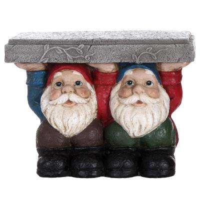 Gnomes Sitting Plant Stand Statue