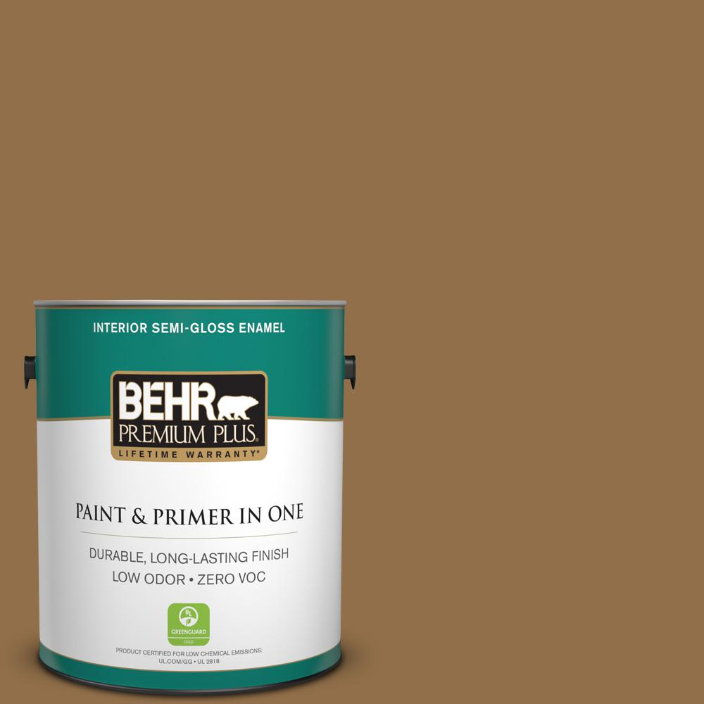 1-gal. #N280-7 Brass Button Semi-Gloss Enamel Interior Paint