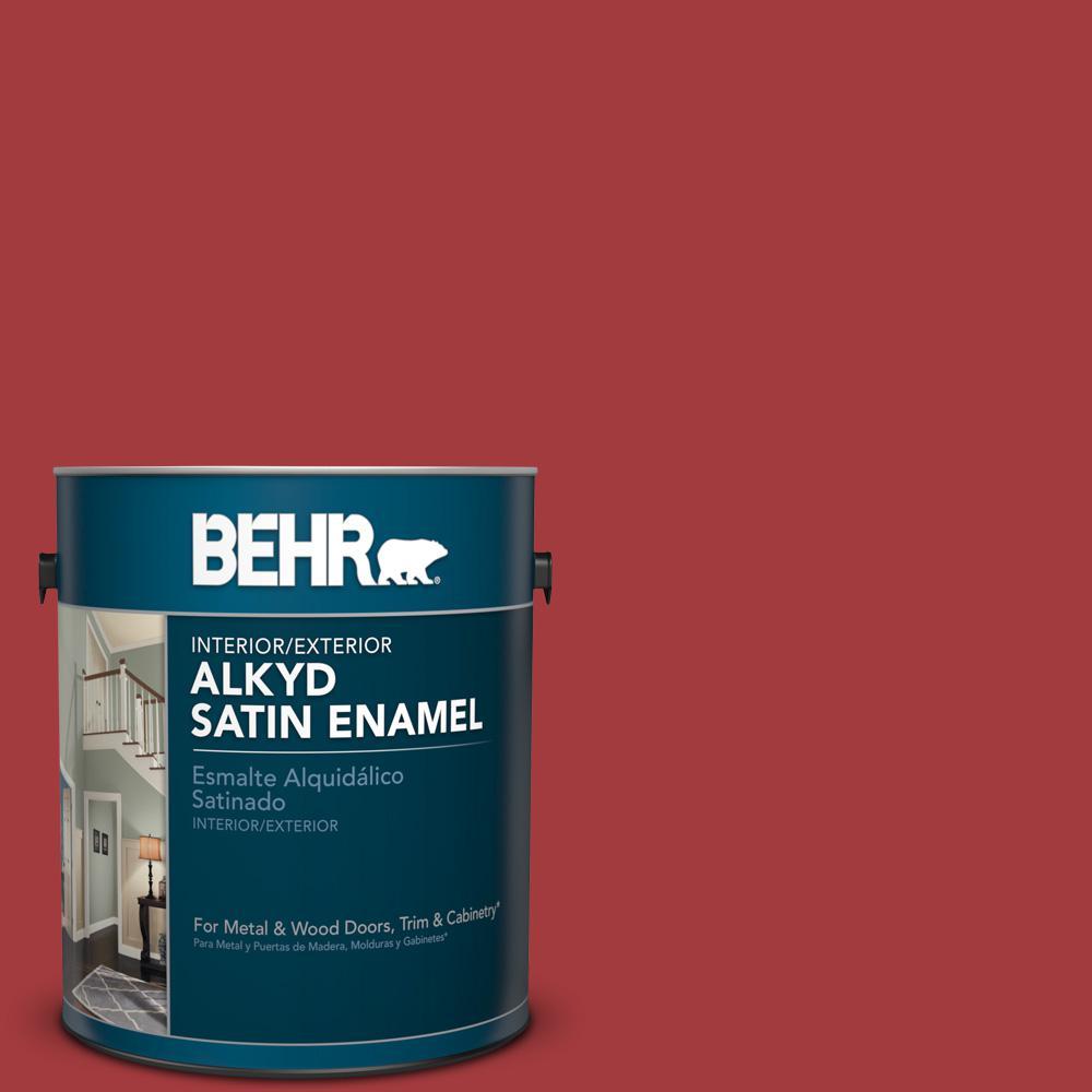 1 gal. #PFC-02 Brick Red Satin Enamel Alkyd Interior/Exterior Paint