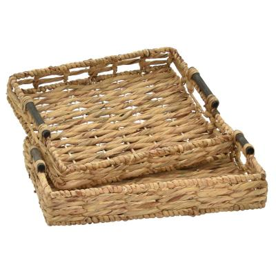 4 in. Brown Water Hyacinth Tray (Set of 2)