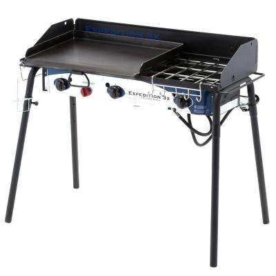 Expedition 3X 3-Burner Portable Propane Gas Grill in Black with Griddle