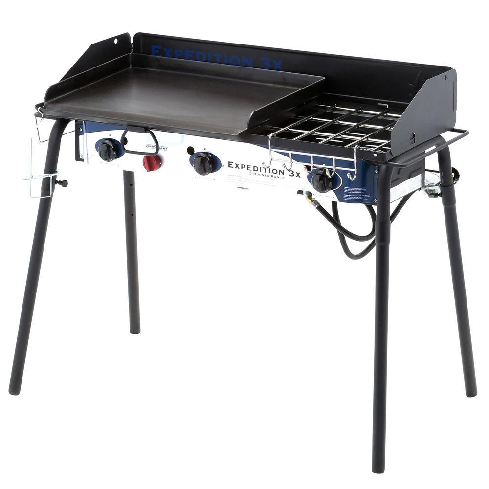 Expedition 3x 3 Burner Portable Propane Gas Grill In Black With Griddle