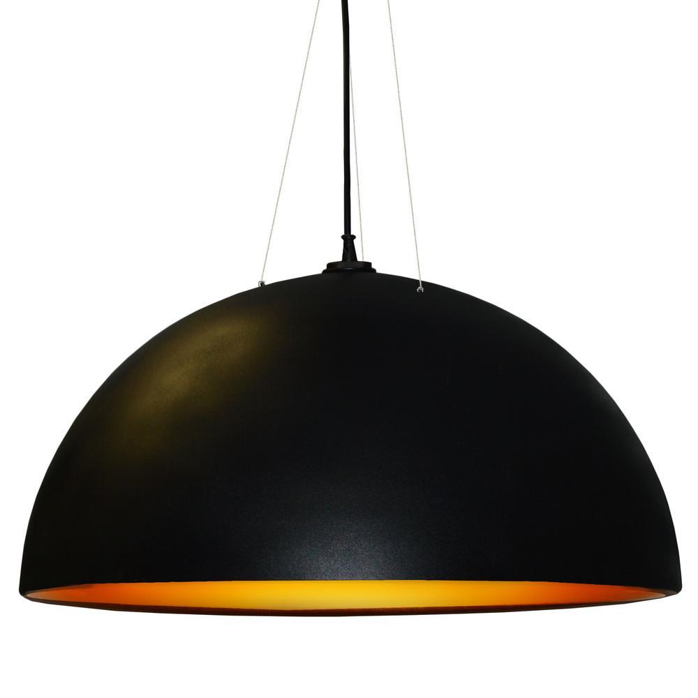 3-Light Black Pendant with Metal Shades
