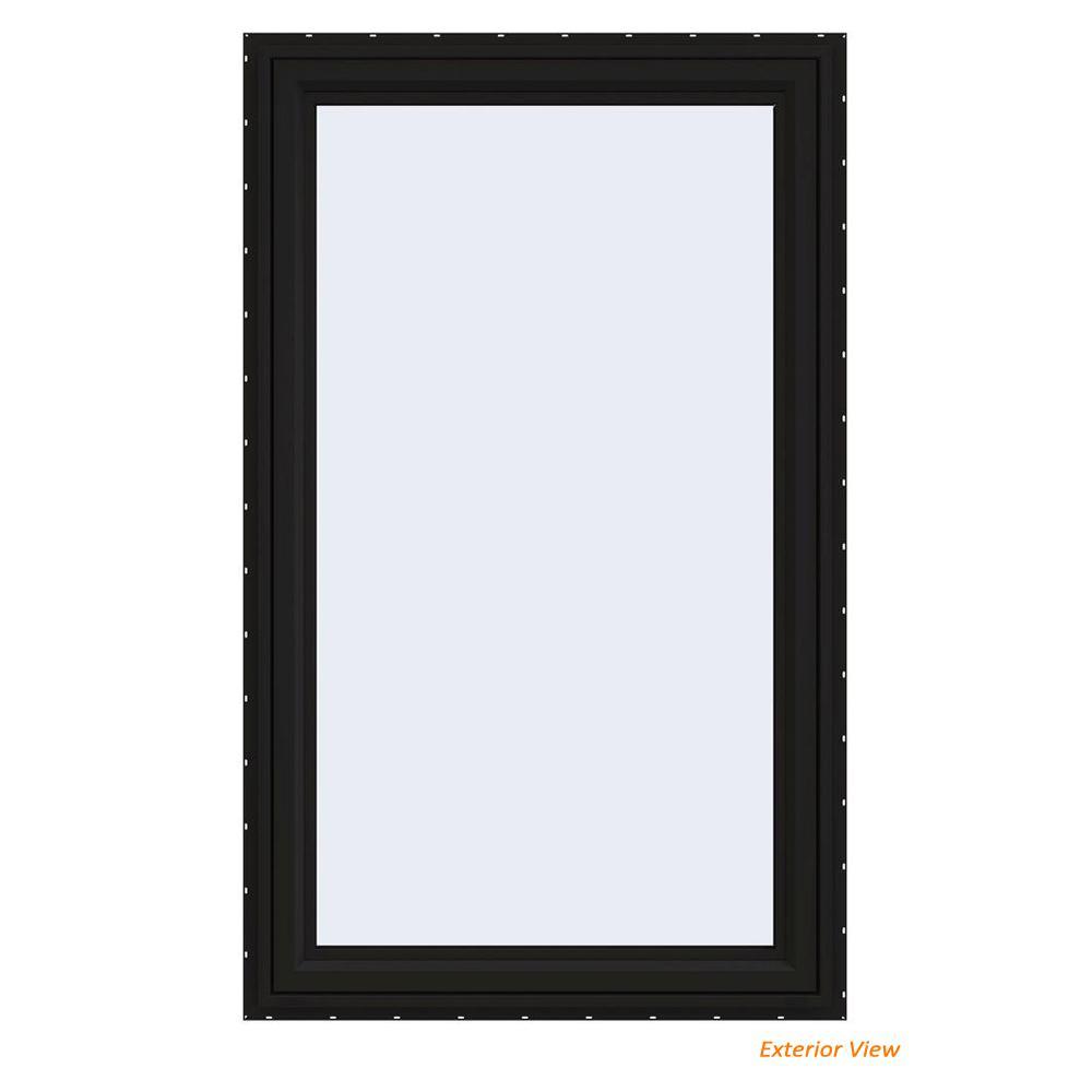 35.5 in. x 59.5 in. V-4500 Series Black Painted Vinyl Left-Handed Casement Window with Fiberglass Mesh Screen