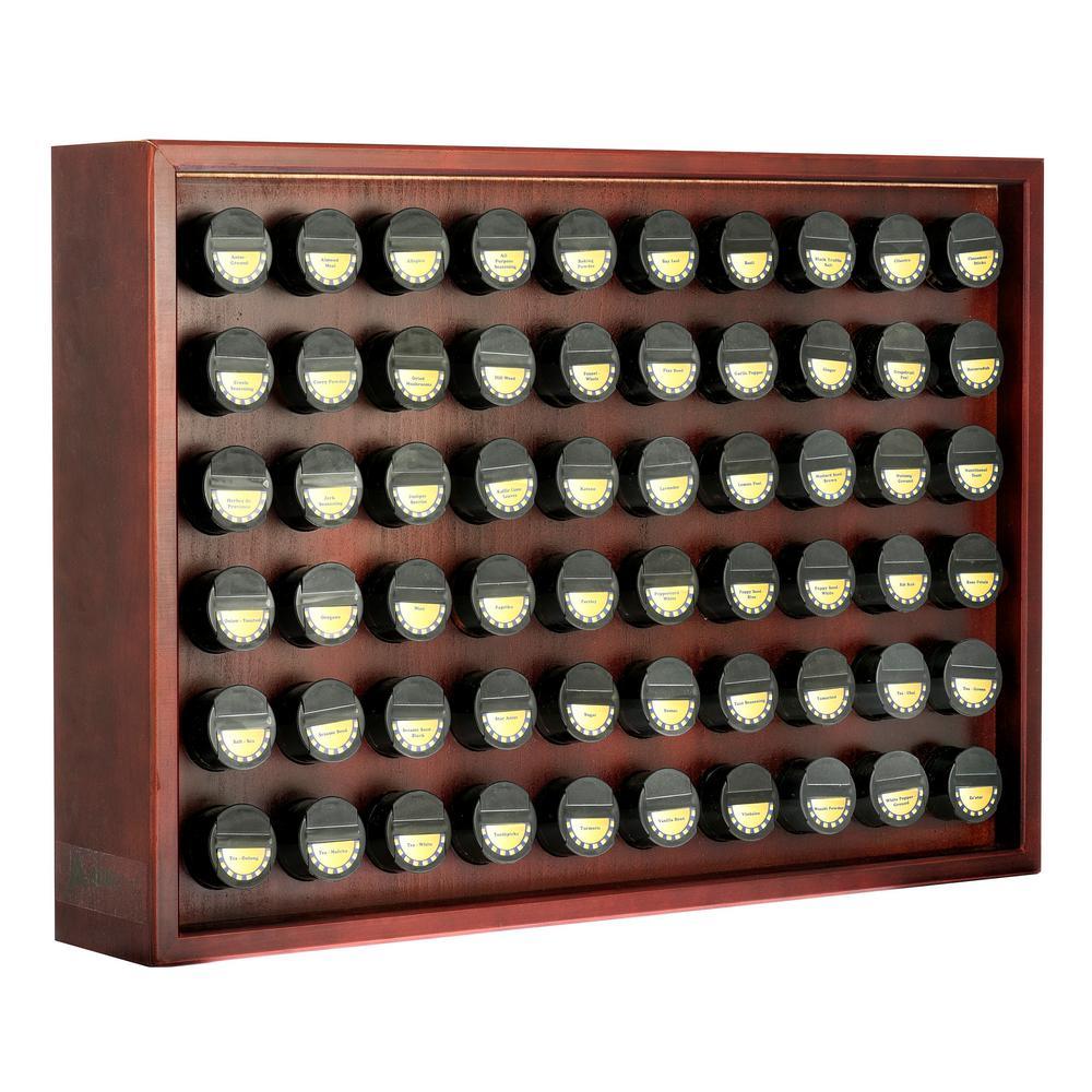 60.4 oz. Jars Cherry Wood Spice Rack (61-Piece)