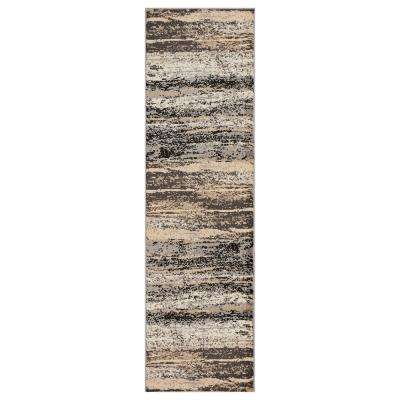 Infinity Gray/Black 2 ft. 1 in. x 7 ft. 5 in. Indoor Runner Rug