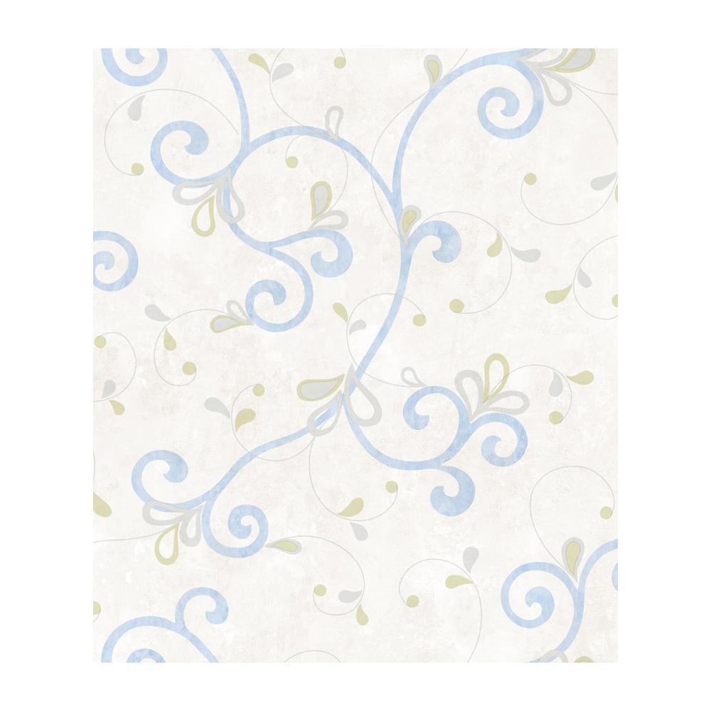 Chesapeake Jada Light Blue Girly Floral Scroll Wallpaper CHR11605