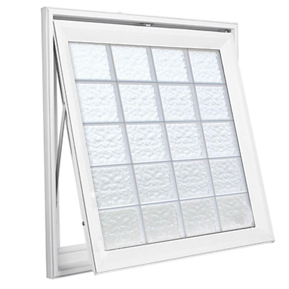 Hy-Lite 53 in. x 53 in. Wave Pattern 8 in. Acrylic Block White, Vinyl Fin Awning Window with White, Silicone&Screen-DISCONTINUED