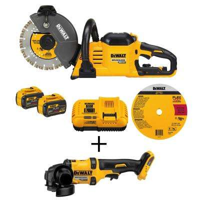 FLEXVOLT 60-Volt Lithium-Ion Cordless 9 in. Construction Saw with Bonus Bare Cordless Brushless 4-1/2 in. Angle Grinder