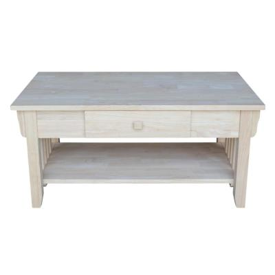 38 in. Unfinished Medium Rectangle Wood Coffee Table with Drawers