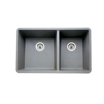PRECIS Undermount Composite 18 in. 1-3/4 Bowl Kitchen Sink in Metallic Gray