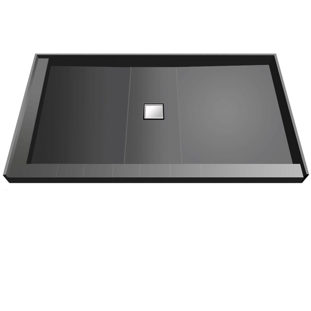 Wonder Drain 37 in. x 72 in. Double Threshold Shower Base with Center Drain