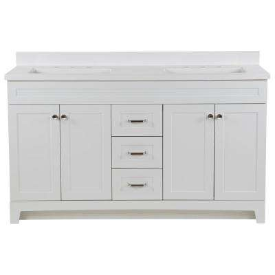 Thornbriar 61 in. W x 22 in. D Vanity in White with Cultured Marble Vanity Top in White with White Sink