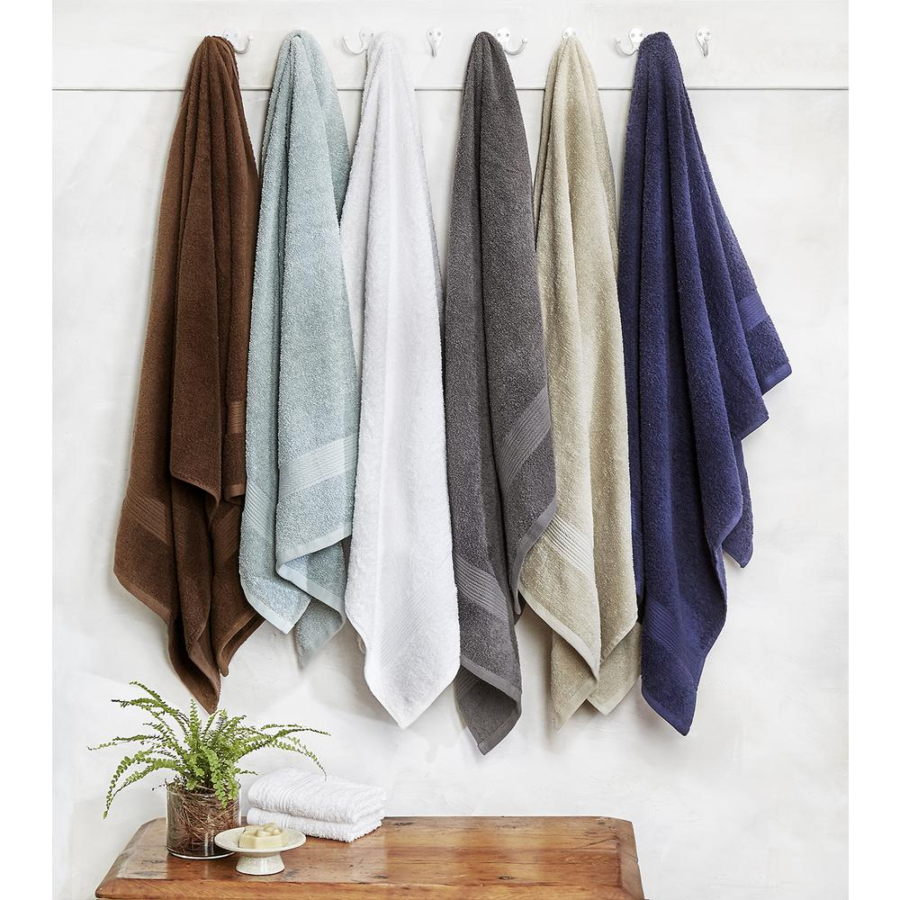Blissful Living 8-Piece 100% Cotton Bath Towel Set in Grey