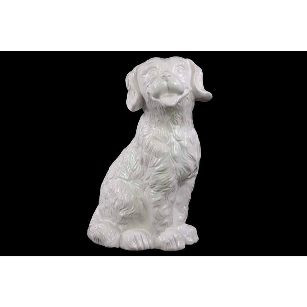 13.75 in. H Dog Decorative Figurine in White Matte Finish