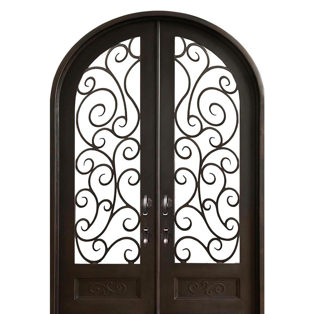 72 in. x 120 in. Lauderdale Dark Bronze Right-Hand Outswing Painted