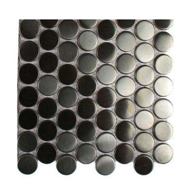 Silver Stainless Steel Penny Round Metal Mosaic Floor and Wall Tile - 3 in. x 6 in. x 8 mm Tile Sample