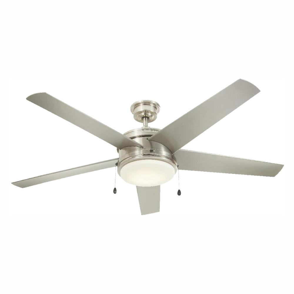 Home Decorators Collection Portwood 60 in. LED Indoor/Outdoor Brushed Nickel Ceiling Fan
