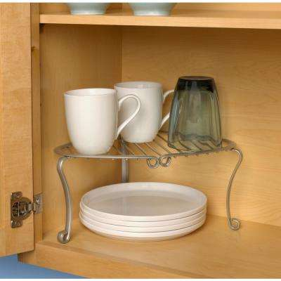 Somerset 5.5 in. x 12.5 in. x 10.25 in. Steel Corner Shelf in Satin Nickel