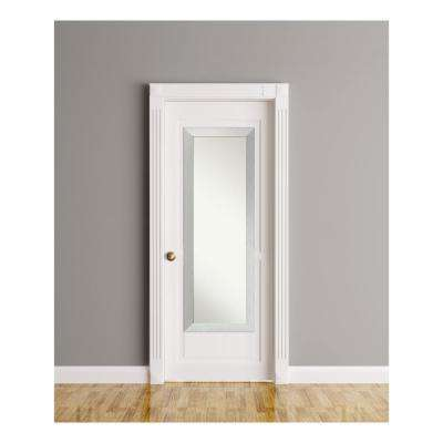 Brushed Sterling Silver Wood 18 in. W x 52 in. H On The Door Mirror