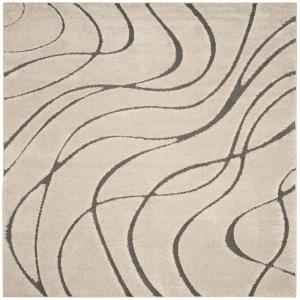 Florida Shag Cream/Gray 4 ft. x 4 ft. Square Area Rug