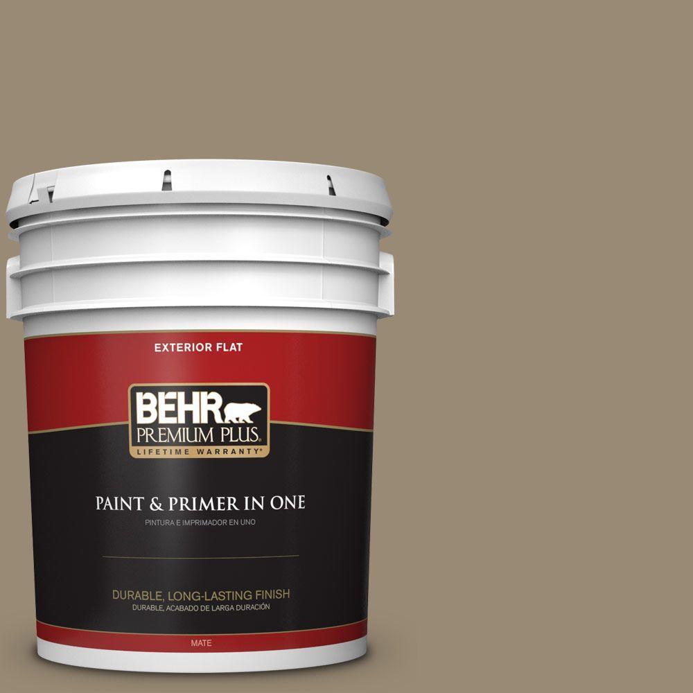 BEHR Premium Plus 5-gal. #N310-5 Weathered Fossil Flat Exterior Paint
