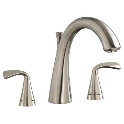 Fluent 2-Handle Deck-Mount Roman Tub Faucet for Flash Rough-in Valves in Brushed Nickel