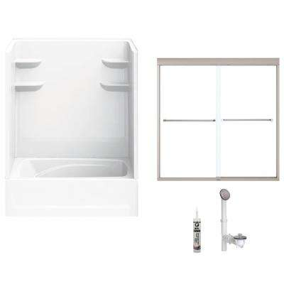 60 in. x 42 in. x 82 in. Bath and Shower Kit with Right-Hand Drain and Door in White and Brushed Nickel Hardware