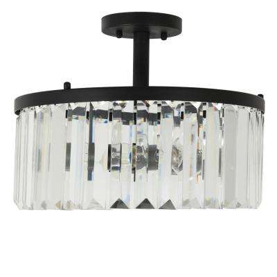 Aniston 3-Light Black and Crystal Convertible Semi-Flush or Flush Mount Light