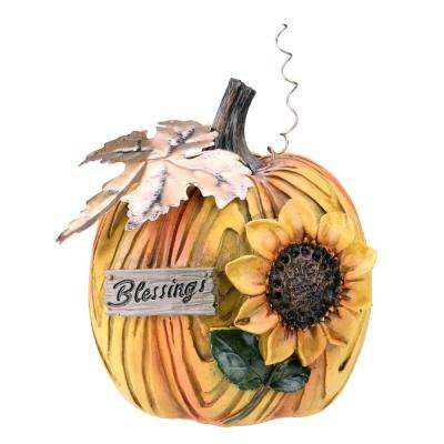 6.5 in. Blessings and Sunflower Thanks Giving Table Top Pumpkin