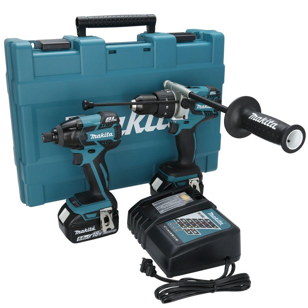 d9672eff317 Makita 18-Volt LXT Lithium-Ion Brushless Cordless Hammer Drill Impact  Driver Combo