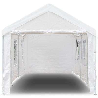 20 ft. x 10 ft. White Heavy-Duty Party Wedding Car Canopy Tent