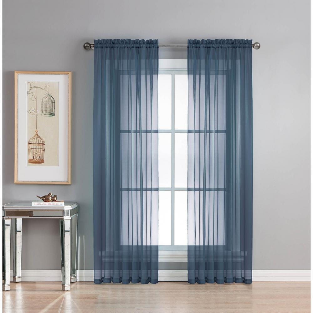 Window Elements Sheer Diamond Sheer Indigo Rod Pocket