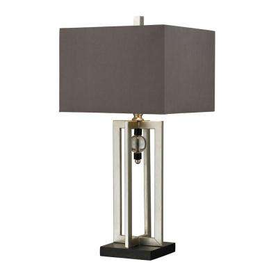 30 in. Silver Leaf Table Lamp with Crystal Accents and Grey Shade