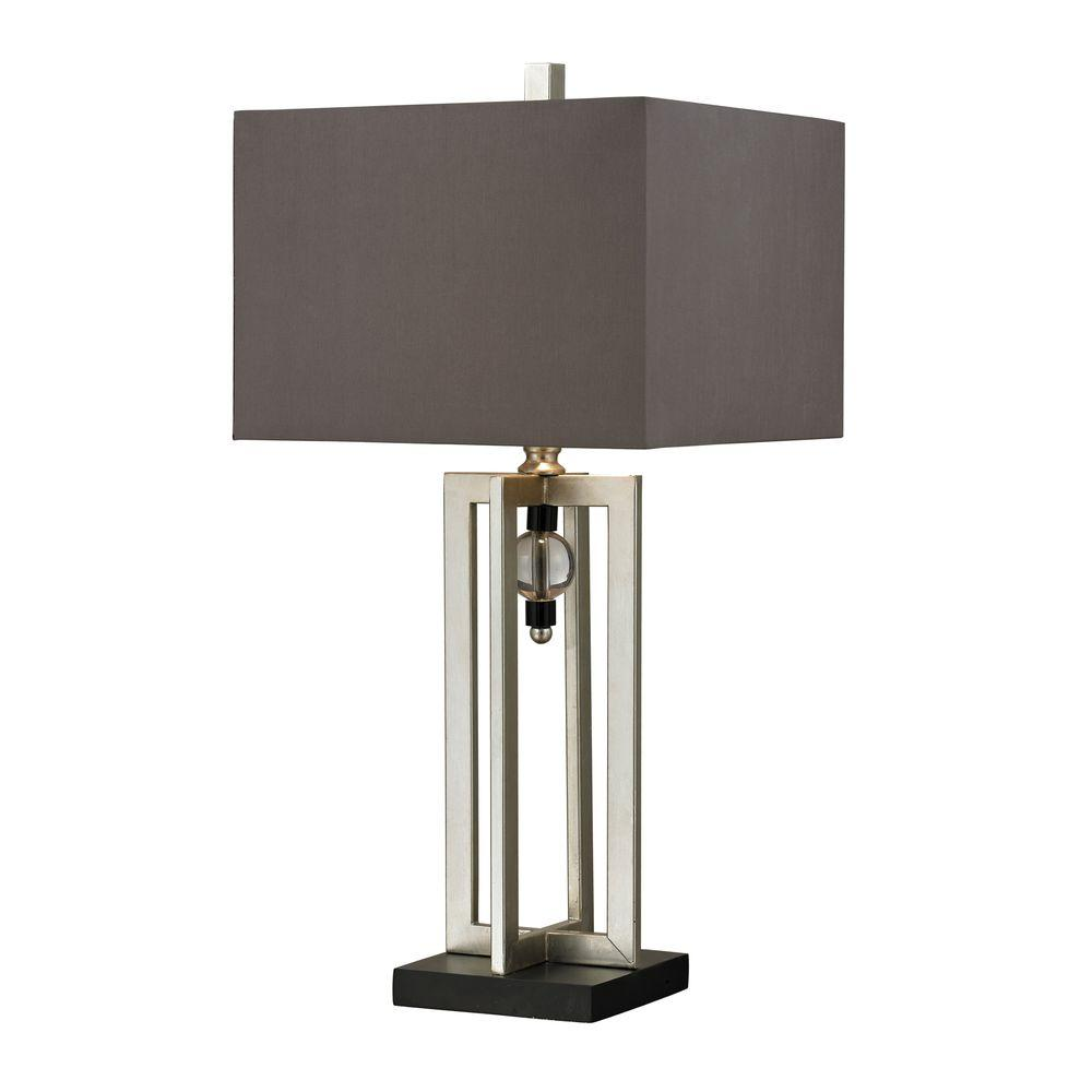 Titan lighting 30 in silver leaf table lamp with crystal accents silver leaf table lamp with crystal accents and grey shade aloadofball Image collections