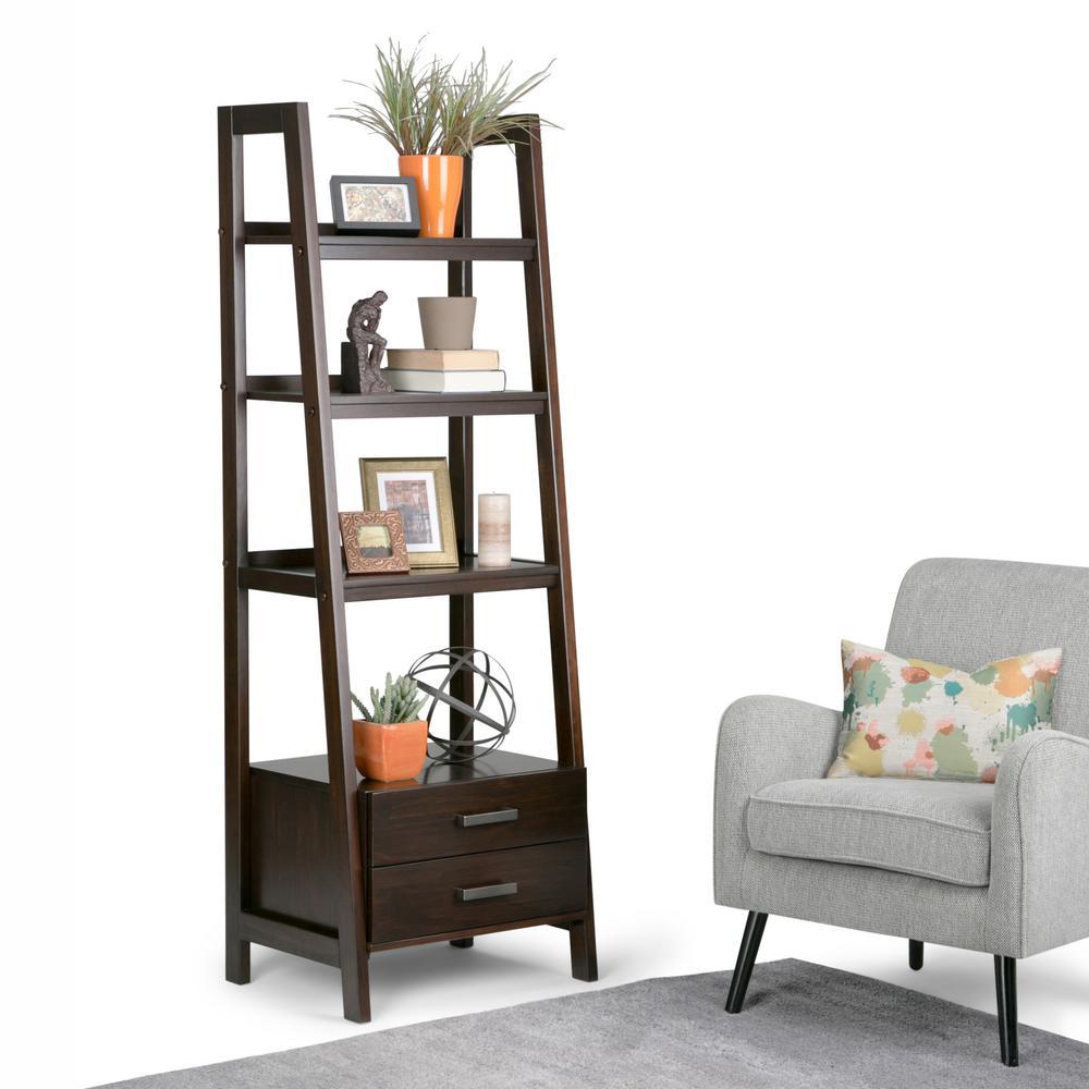 Sawhorse Dark Chestnut Brown Storage Ladder Bookcase