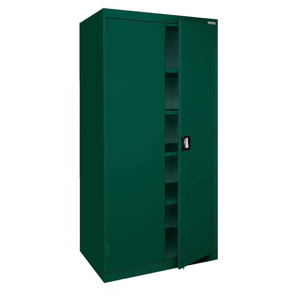Sandusky Elite Series 72 in. H x 36 in. W x 24 in. D 5-Shelf Steel Recessed Handle Storage Cabinet in Forest Green