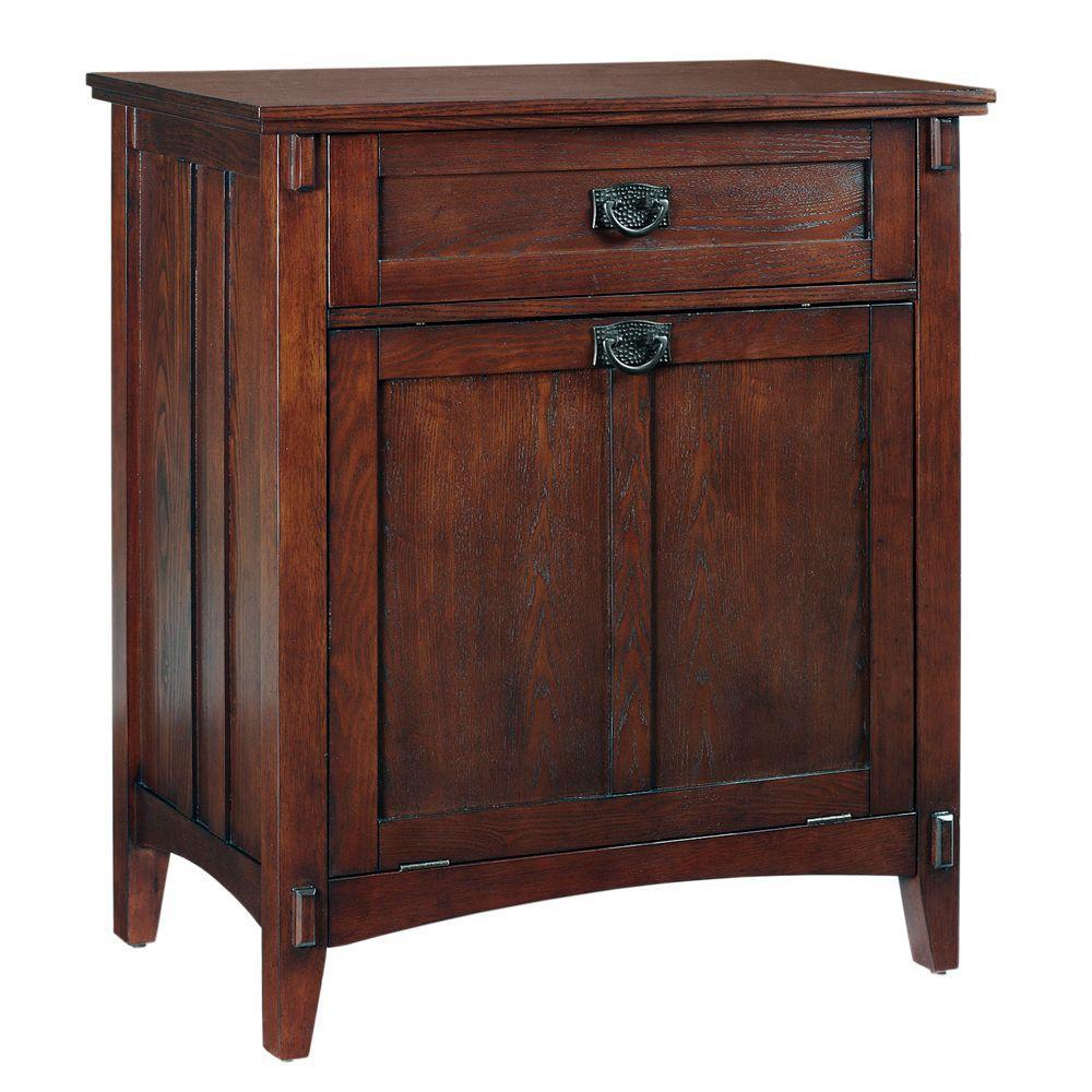 Home Decorators Collection Artisan 33 in. H x 28.5 in. W Tilt-Out Hamper/Wastebin in Macintosh Oak