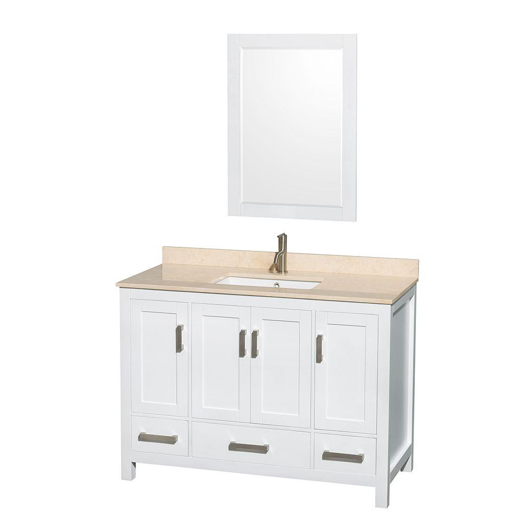 Wyndham Collection Sheffield 48 in. Vanity in White with Marble Vanity Top in Ivory and 24 in. Mirror