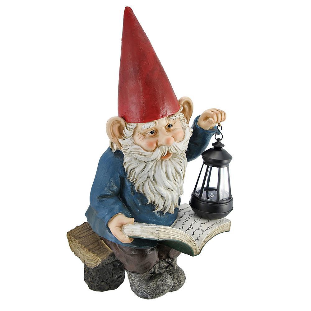 Reading Garden Gnome Lantern Outdoor Garden Statue