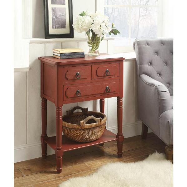 4D Concepts Simplicity Antique Red Storage Console Table 550797